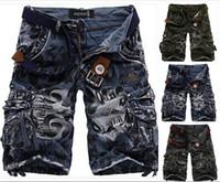 ¡Caliente! modelos de explosión relajaron pantalones cortos de camuflaje carga casuales de gran tamaño de los pantalones multibolsillos pantalones cortos los hombres del envío gratis quinto