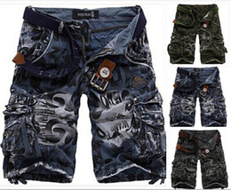 Wholesale Hot explosion models relaxed casual camouflage cargo shorts in large size multi pocket pants shorts men fifth