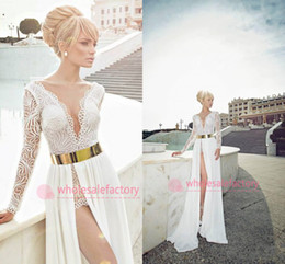 Wholesale 2014 Sexy Plunging V Neck Sheer Long Sleeve High Side Slit to Waist with Gold Sash Lace Top Chiffon Floor Length Wedding Dresses CPS017