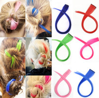 Wholesale Best price Long Solid Colored Colorful Clip On In Hair Extension Hightlight Color