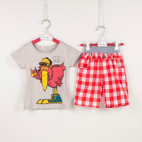 Wholesale Baby Boys Suits T shirt Short Pants Turkeys Pattern Suits Kids Gray T shirt Cartoon plaid pants Suits Children Fashion Suits FS DG019