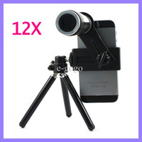 Wholesale 12x Zoom Optical Lens Mobile Phone Telescope Camera Lens with Tripod for iPhone S S Samsung S3 S4 S5 HTC ONE X M8