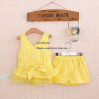 wholesale suits - Girl Clothes Children Set Kids Suit Outfits Child Clothing Lace Tank Tops Summer Shorts Child Suit Kids Sets Girl Suit Outfits Dress Suits