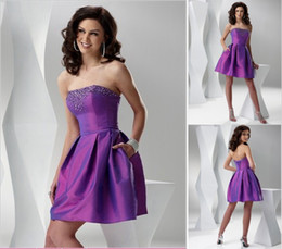 Wholesale 2014 Elegant Purple Short A Line Homecoming Dresses Cheap Strapless Corset Mini Prom Gowns Crystal Beaded Party Dress
