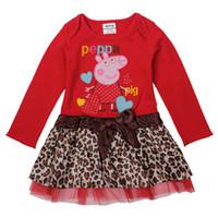TuTu Spring / Autumn A-Line 2014 Spring Autumn Clothing New style Cartoon Peppa Pig Girls Dresses Cute Leopard print Peplum Long Sleeve Kids Dress Children Dress TX753