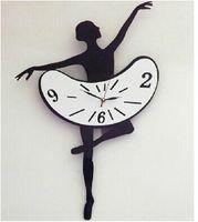 Quartz Analog   Hot sale Creative Modern Design Wall Clock Beautiful Dancing Girl Pattern mute movement Acrylic Large Wall Clocks Watch Unique gift