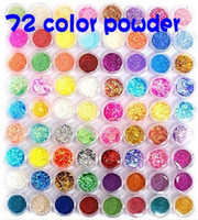 Nail Art Tools Nail Art Rhinestones  Nail art 72 Pots 6 Kinds Glitter Decoration Powder Crush Shell Bead Metal Shiny Tool Kit Acrylic UV Glitter Powder Stamp 72pcs set 2set lot