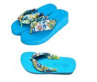Wholesale 2014 Summer Bohemia Flower flip flops platform wedges women sandals platform flip slippers beach shoes Women beach sandal Colours