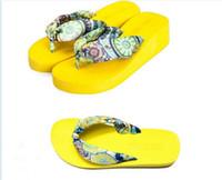 Wholesale 2015 Summer bohemia flower flip flops platform wedges women sandals platform flip slippers beach shoes Silks and satins flip flops