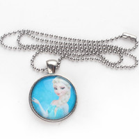 Stainless steel Necklace 46cm Snow Queen Elsa Necklace Charm Frozen Ball Chain Necklace with Round Cabochon Charm Necklace Free Shipping