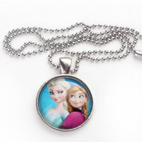 Stainless steel Necklace 46cm Two Princess Pendants Frozen Elsa and Anna Necklace Frozen Ball Chain Necklace with Round Cabochon Base Setting Clothing Dress Accessories