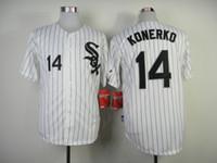 Wholesale White Sox KONERKO White Black Pinstripe Baseball Jerseys Cool Base Jerseys Authentic Men Baseball Uniforms Embroidered Sports Shirts