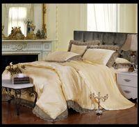 Wholesale Noble Lace Jacquard silk cotton bedding sets queen king size Satin doona bedclothes bedlinen duvet cover bed sheet home textile luxury