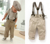 Boy Spring / Autumn Short 2013 newest free shipping 5 sets lot baby boy retro handsome summer clothing set(short sleeve+suspender trousers) kids garment