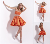 Reference Images Taffeta Strapless 2014 Orange Homecoming Dresses Hot Sale Short Ball Gown Strapless Pleats Corset Bodice Prom Party Gown Cheap