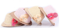 Wholesale 2016 New baby Flower Caps Baby Hat Kids Straw Fedora Hat Girls Sun Hat Children Summer Hat Jazz Cap