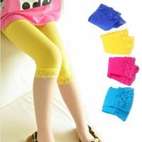 Wholesale Summer Children Short Leggings Candy Color Points Lace Girl Leggings Kids Pants Random Colour Size GX491