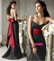 Wholesale Cheap Bridesmaid Dresses Beach Low Cut Black Satin with Red Sash and Bow Empire Floor Length Prom Dresses with Lace up Back CPS014