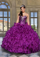 Wholesale LM Porcelain Sweetheart Beaded Purple Quinceanera Dress With Jacket Organza Ruffles Mix COlor And Size Masquerade Ball Gowns