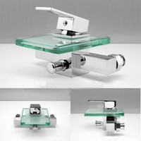 Wholesale green Glass Waterfall Faucet Bathroom Sink Basin Mixer tap8200