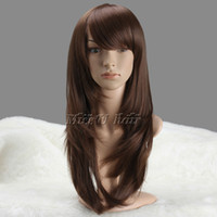 Cheap Best quality 70cm Fashion wigs for women Heat Resistent Fiber Straight wigs Brown Party cosplay wigs