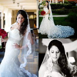 Wholesale Hot Online Selling White amp Ivory Tulle Net Applique Lace Edge Ankle Length Waltz Wedding Accessory Bridal Veil