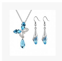 Wholesale Crystal Butterfly Jewelry Sets Crystal set necklace earrings norble jewelry for women L Set