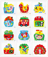 Wholesale Children d puzzles handmade DIY crafts sets include crown pen container photo frame bags and glasses children educational toys