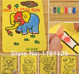 Wholesale Children sand drawing toys sand paper sand painting with colors sand for children learning and educational toys