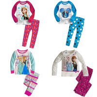 Wholesale 2pcs girls princess FROZEN pajamas children cartoon long sleeve T shirts pants set underwear kids clothing T gmy