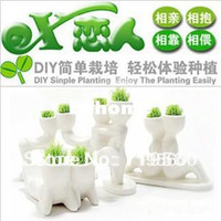 Wholesale DIY ceramic smart plant pot mini bonsai flower pots innovative items pots for flowers magic seed PZ2014