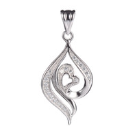 Wholesale S White Cubic Zirconia Heart First class products Recommend Promotion Favourite sterling Silver Trendy Pendants