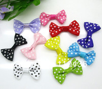 Wholesale Mixed Baby Satin Ribbon Dots Bowknot For Hair Clips Applique DIY Craft Wedding Bow Tie Decoration x2 cm