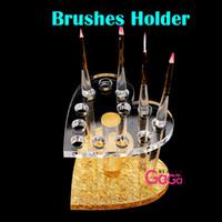 Wholesale BeautyGaGa Professional Supply High Quality Acrylic Stand Brush Holder Holes Nail Makeup Brush Holder