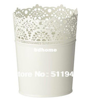 Wholesale pieces off white color galvanized steel flower pot garden plant pot