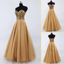 Wholesale Bling Gold Sequins Golden Quinceanera Dresses with Sweetheart Strapless Lace Up Backless Floor length Evening Party Ball Gowns SD033