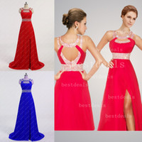 Floor-Length crystal beads - 2015 royal blue red halter crystal beads A line floor length long backless pageant dresses beach party dresses CPS012 hot sale