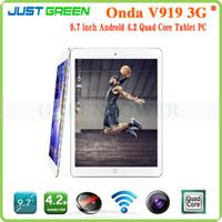 Wholesale Onda V919 G Tablet PC MTK8382 Quad Core Android Tablets Inch x768P IPS Screen RAM GB ROM GB FM GPS Bluetooth UTMS HSPA HSPA