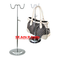 Wholesale Stainless Steel Bag Rack Floor Bag Handbag Display Stand Bag Hook Counter Show Fashion Bag Shelf Adjustable Height Assembled