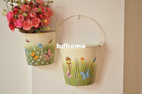 Wholesale wall Mounted planter Hanging Planter Basket pure garden bucket tin box lpots flower holder container vintage decorative pots
