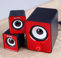 Wholesale Volume Control Portable Mini Loudspeaker Box for PC Laptop Red