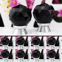 Ceramic  new TK0738# Wholesale & Retail 8 Pcs Set Glass Crystal Cabinet Drawer Knob Kitchen Pull Handle Door Wardrobe Hardware 30mm Black #6 TK0738