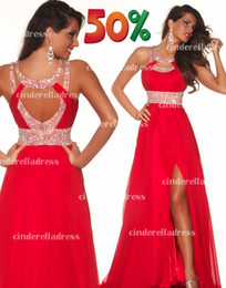 Wholesale 2014 Hot Sale Cheap In Stock Prom Dresses Halter A Line Chiffon Split Sexy Evening Celebrity Gowns Long Backless Wedding Party Gown CPS012