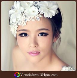 Wholesale 2014 New Arrivals White Wedding Hair Accessories Bridal Headwear Korea In Stock Stunning Wedding Bridal Crystal Flora Hair accessories