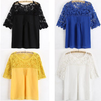 Crew Neck Petal Sleeve 1/2 Sleeve 2014 New Sexy Sleeve Hollow Lace Dress Women's Sexy Lace Blouse O-Neck Ladies Dress Black White Yellow Blue S-XXL Elegant Vintage Blouse