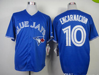 Wholesale Baseabll Wears Toronto quot Blue Jays quot Encarnacion Blue Cool Base Baseball Jerseys High Quality Men Authentic Cheaper Baseball Uniforms