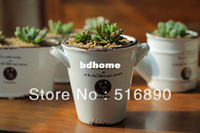 Wholesale Whole saler Vintage Style Succulent Plant Ceramic flower Pot Two Ears Hanging Enamel Flower Vase desk plant