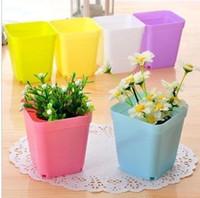Wholesale set a pot tray Gardening Mini Plastic Flower Pots Vase Square Flower Bonsai Planter Nursery Pots
