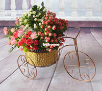 Wholesale antique vintage iron rattan wicker tricycle bandwagonartificial flower vase dwedding decoration home decoration