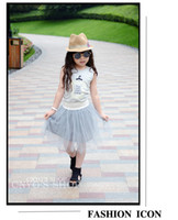 Wholesale Hot sales kids clothing children s outfit set print fine wea ther today top yarn veil skirt gray toddler sets kids clothing J0388